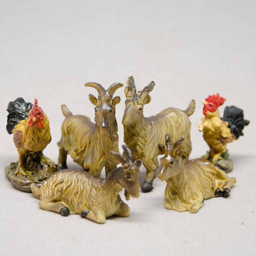 Ziegenset mit Hühner, Set 6-teilig