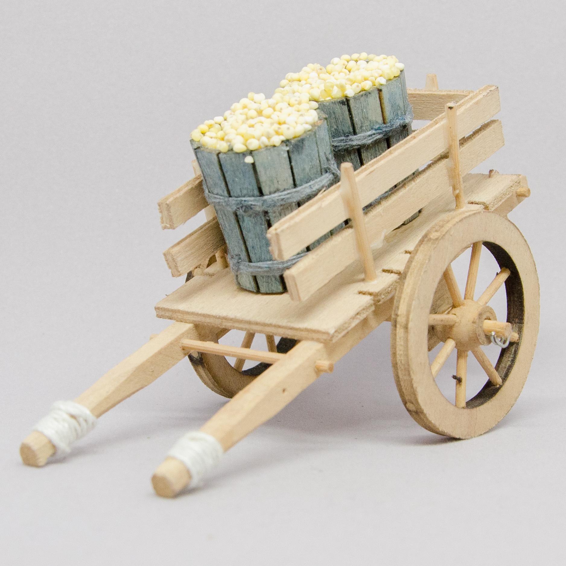 Leiterwagen mit Getreidefässer