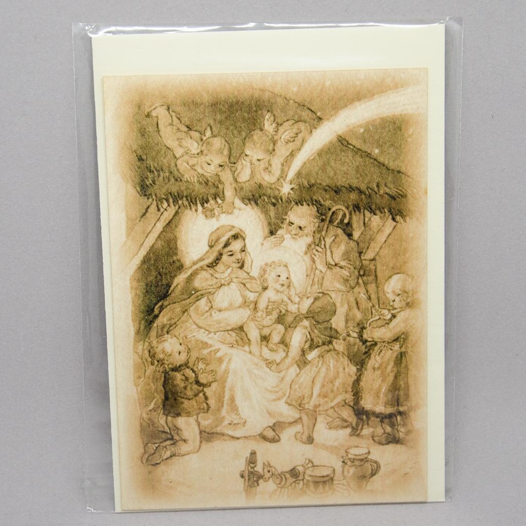 Holzkarte mit Krippenmotiv