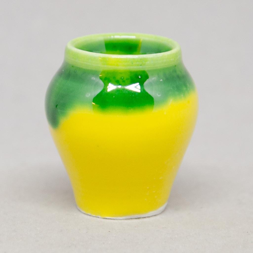 Terrakottakrug gelb/grün glasiert